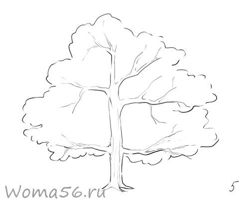 Рисуем ствол дерева карандашом