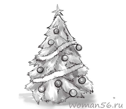 Как нарисовать елку.
