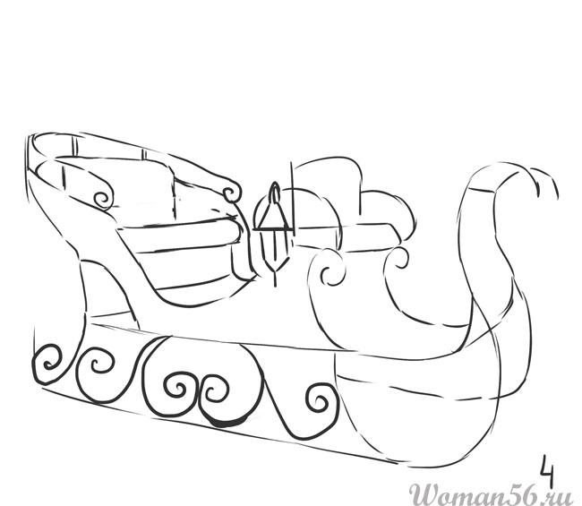 Как нарисовать деде мороза в санях поэтапно