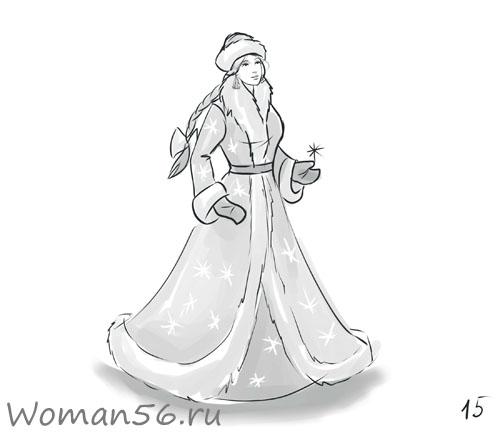 Снегурочка нарисовать своими руками