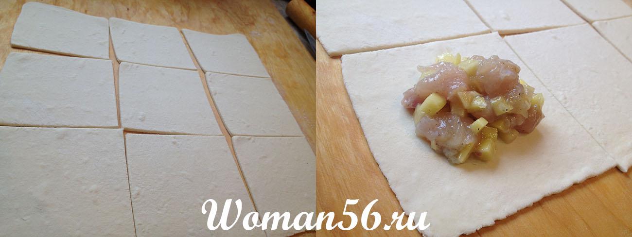 Курник на слоеном тесте пошаговый с фото