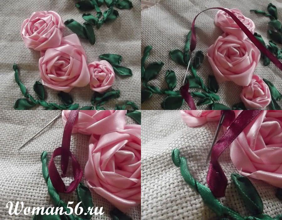 Цветы для букета из атласной ленты