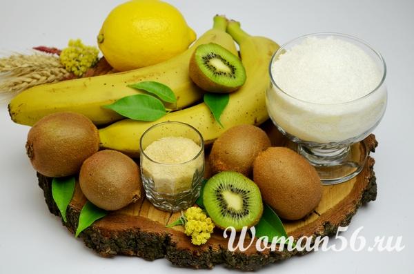 ингредиенты для джема из киви и бананов