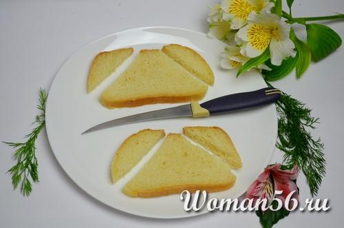 батон нарезанный для бутербродов в форме гриба