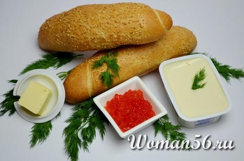 батон с сыром для бутербродов с икрой