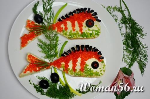 бутерброды с красной икрой рыбки
