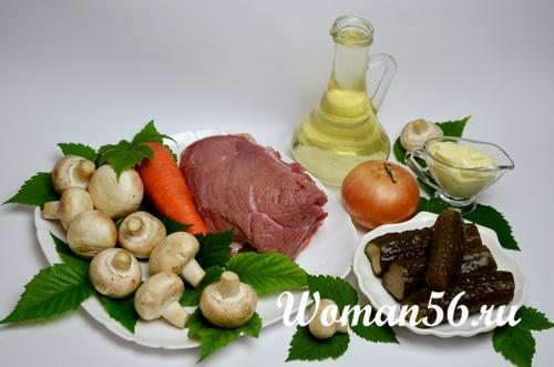 ингредиенты для мясного салата