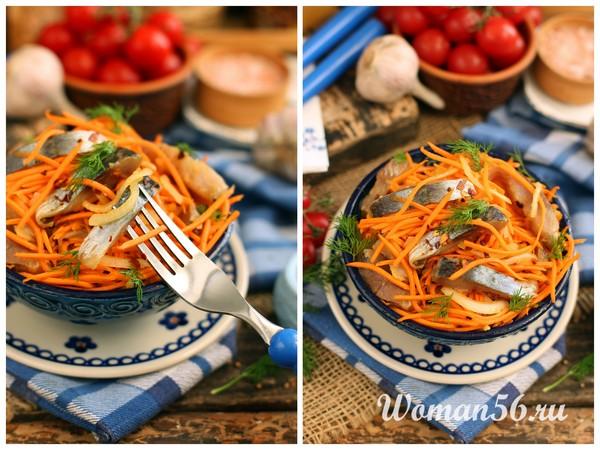 Салат хе из селедки с морковью