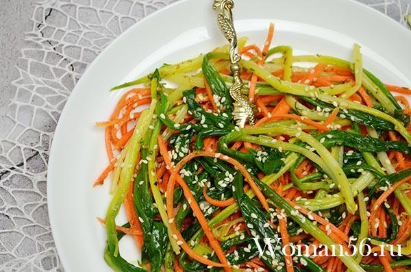 Салат по-корейски из черемши Рецепт в домашних условиях