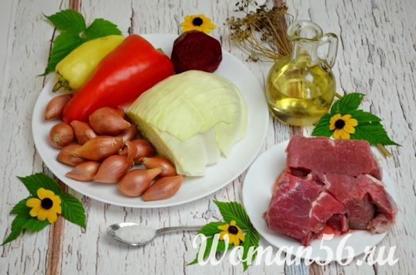 ингредиенты для борща с фрикадельками