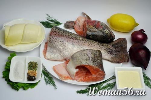 ингредиенты для красной рыбы с майонезом