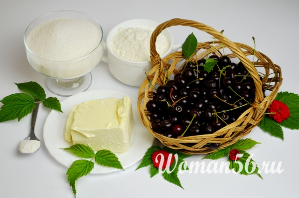 ингредиенты для пирога с вишней и шоколадом