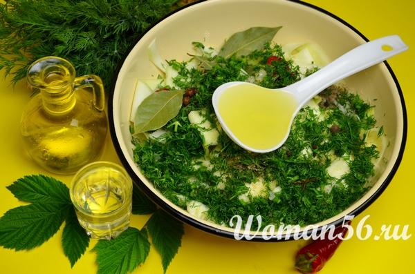 зелень для кабачков с маслом