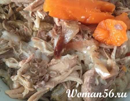 разделить отварное мясо