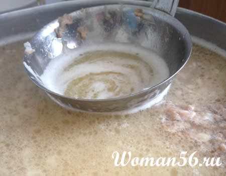 Как убрать жир с  холодца