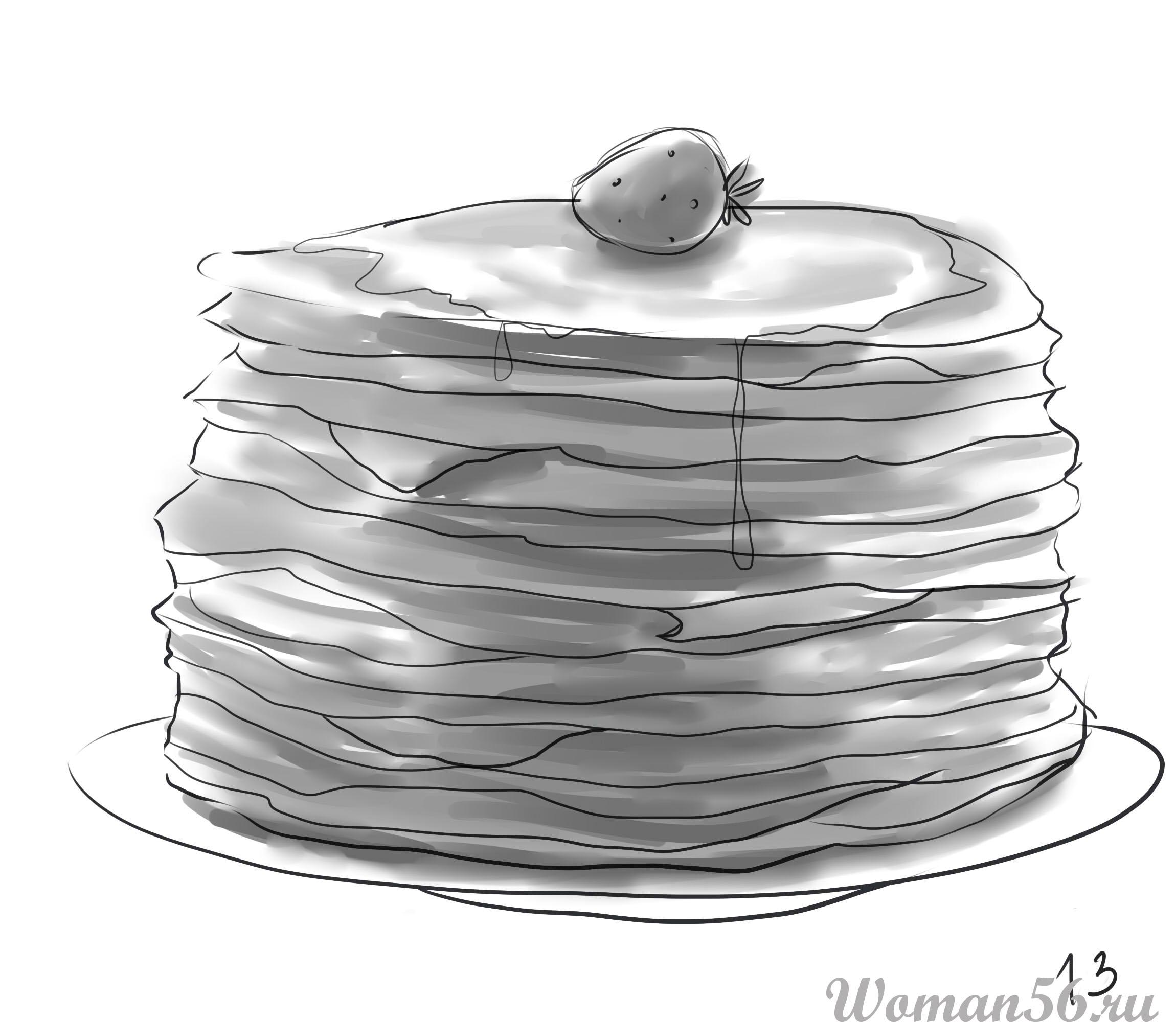 Как рисовать блины