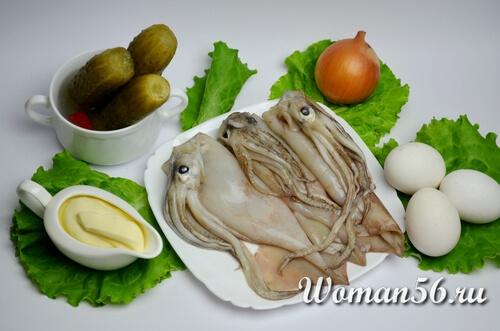 сырой кальмар для салата
