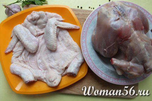 снять кожу с курицы