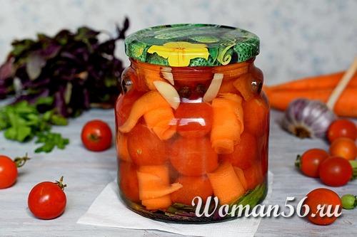 Помидоры маринованные с морковью