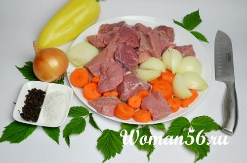мясо с овощами для фарша