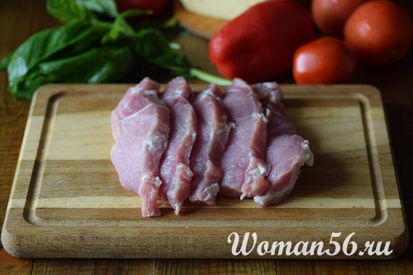 нарезанное мясо для рулетиков