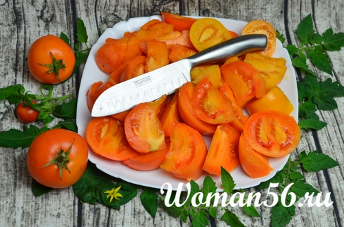 нарезанные желтые помидоры