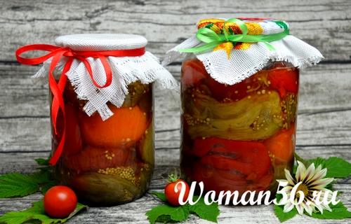 печеные баклажаны с перцем и помидорами на зиму