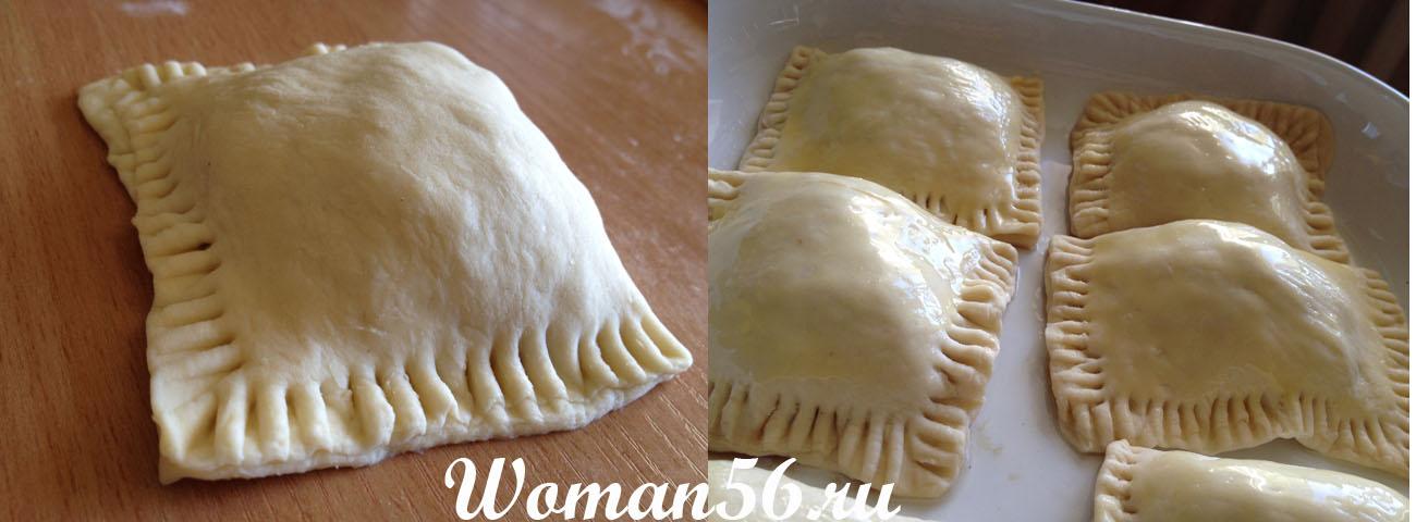 Пирожки с картофелем и фаршем из слоеного теста