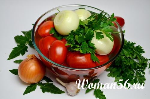 помидоры Сливки с луком