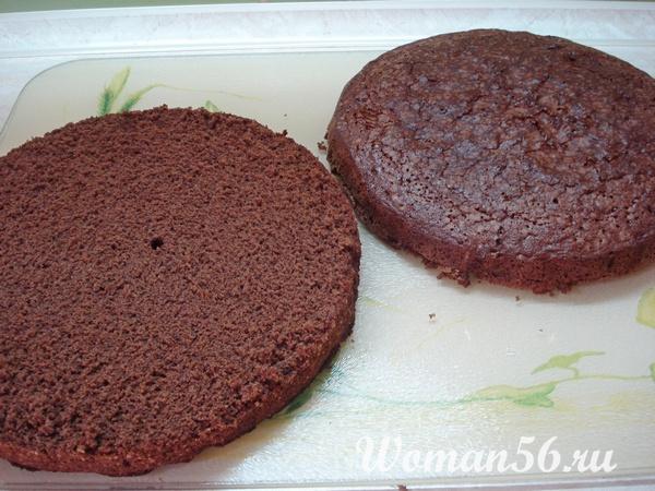 шоколадный корж для торта разрезанный