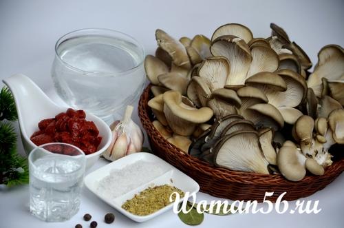 ингредиенты для вешенок в маринаде