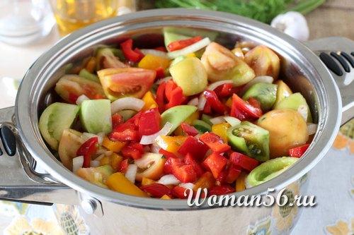 рецепт зеленых помидор с перцем