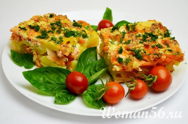 Рецепт запеканки с красной рыбой и картошкой в духовке