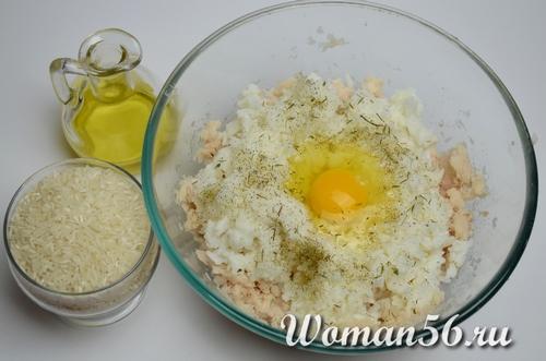 рыбный фарш с рисом