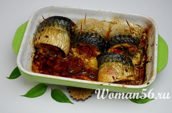 филе скумбрии с овощами в духовке