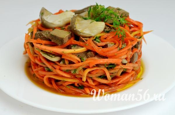 Рецепт салата с говяжьей печенью и морковью