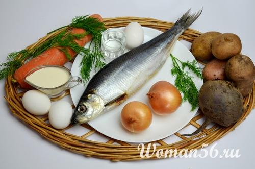селедка с овощами для салата