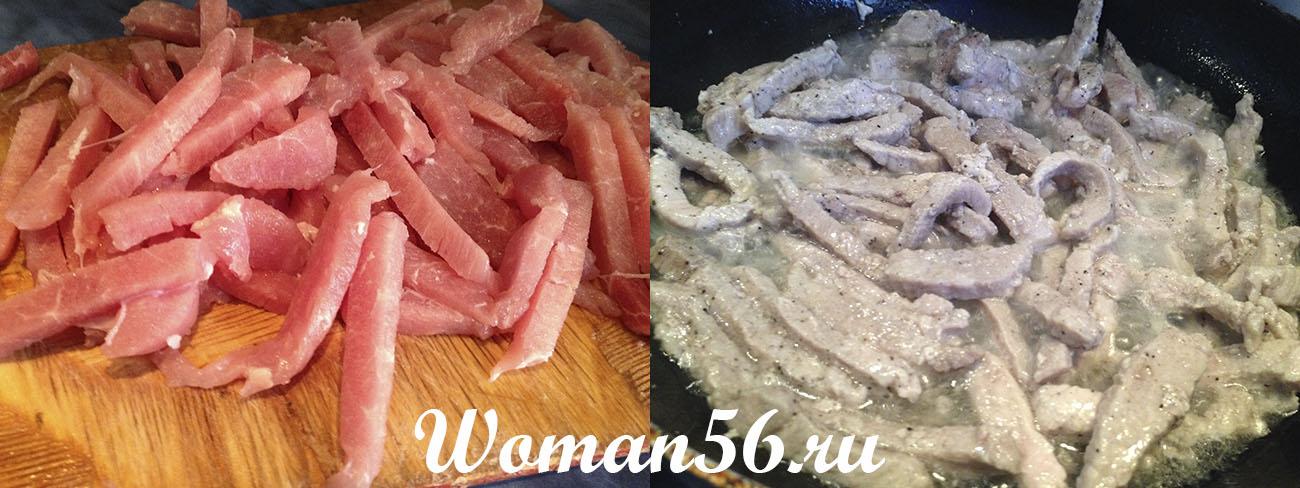 Свинина жареная с луком