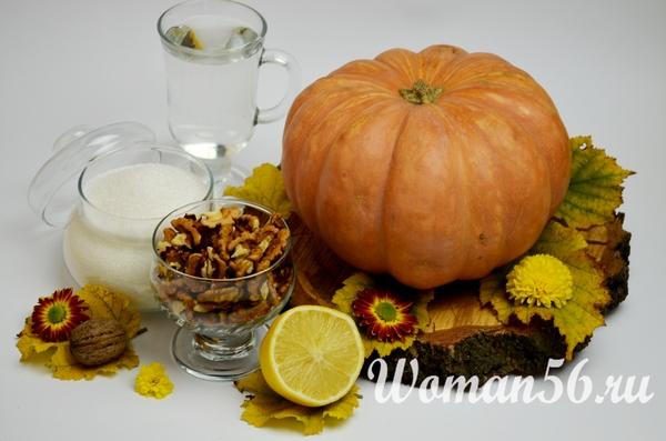 ингредиенты для варенья из тыквы с орехами