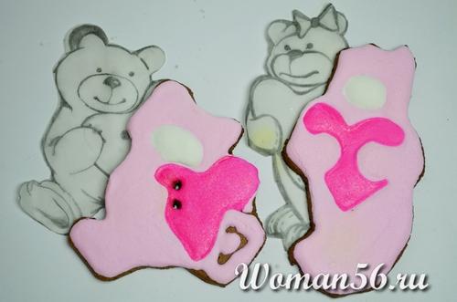 мишки печенье валентинки