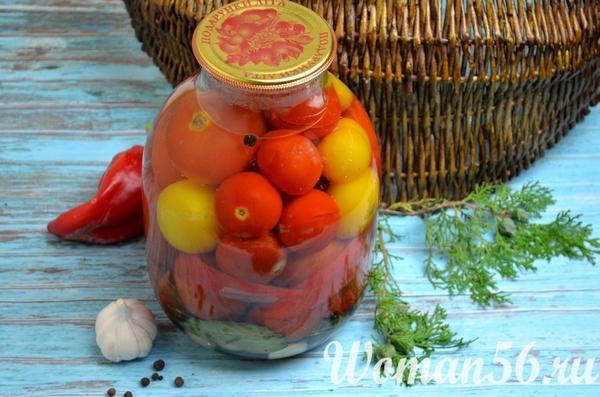 закатанная банка с маринованными помидорами