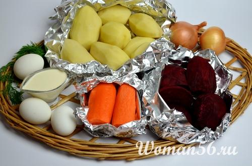 запеченные овощи для селедки под шубой